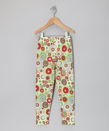 Lime Holly Dots Leggings - Toddler & Girls