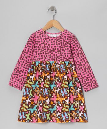 Pink Butterfly Party Contrast Dress - Infant