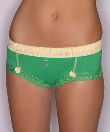 Kelly Green & Yellow Boyshorts - Women