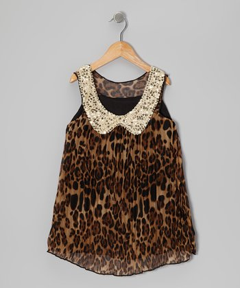Leopard Pleated Sequin Collar Dress - Toddler & Girls