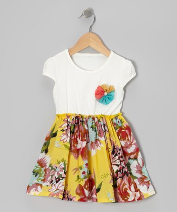 Yellow & White Vintage Floral Dress - Toddler & Girls