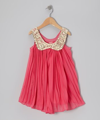 Hot Pink Pleated Sequin Collar Dress - Toddler & Girls