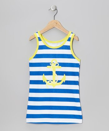 Navy Stripe Anchor Tank Dress - Toddler & Girls