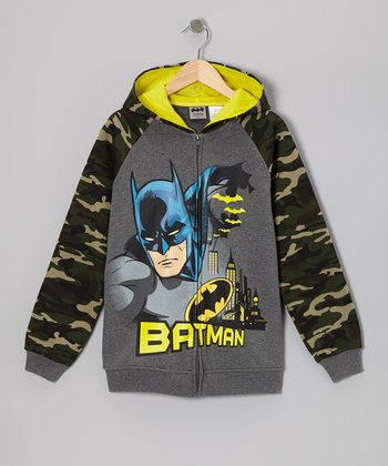 Gray & Camo Batman Zip-Up Hoodie