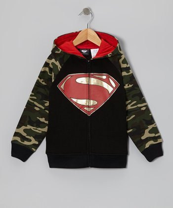 Gray & Camo Superman Zip-Up Hoodie - Kids