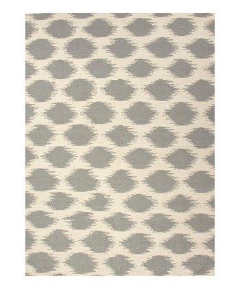 Cream & Gray Abstract Dot Flat Wool Rug