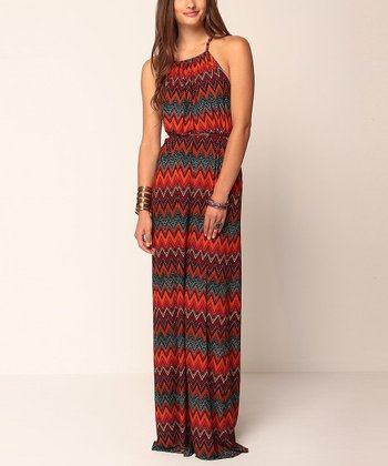 Red Zigzag Valentine Maxi Dress