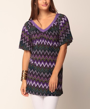 Purple Zigzag Amara V-Neck Tunic