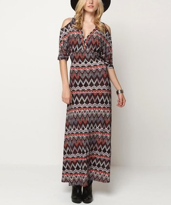 Orange & Gray Lovely Cutout Maxi Dress
