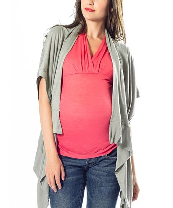 Sage Summer Maternity Open Cardigan
