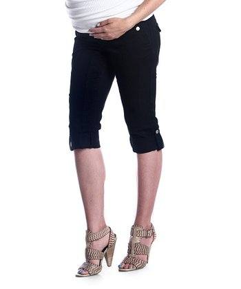 Black Twill Maternity Capri Pants