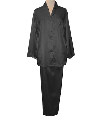 Black Lace Trim Pajamas - Women & Plus