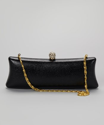Black Rhinestone Crocodile Long Clutch