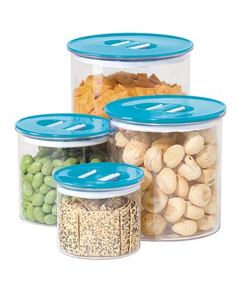 Blue Stack 'n' Store Four-Piece Canister Set