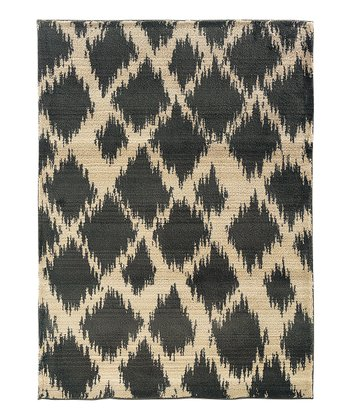 Ivory Rippled Diamond Rug