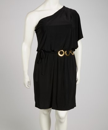 Black Asymmetrical Dress - Plus