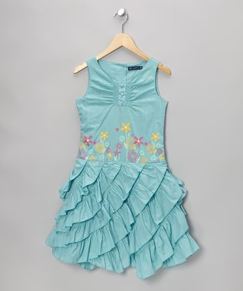 Blue Gilliane Ruffle Dress - Toddler & Girls