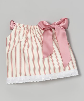 Mauve & Cream Stripe Doll Dress