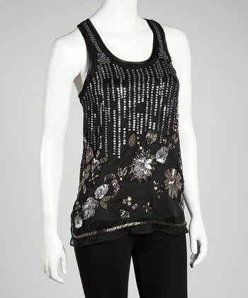 Black Floral Beaded Top