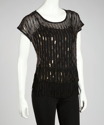 Black Sheer Beaded Top