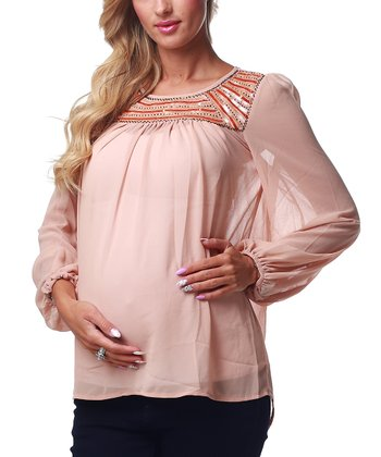 Peach Embellished Maternity Top