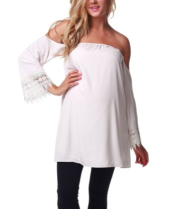 Ivory Crocheted Sleeve Accent Off-Shoulder Maternity Top - Women