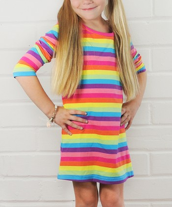 Rainbow Stripe Dress - Toddler & Girls