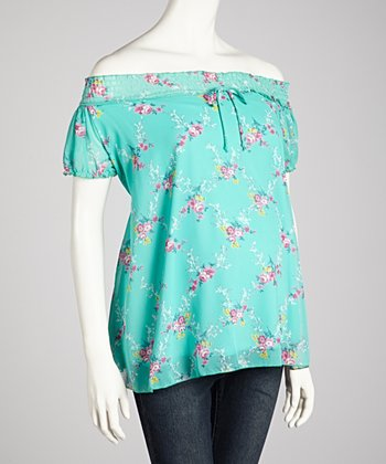 Turquoise Flower Maternity Off-Shoulder Top