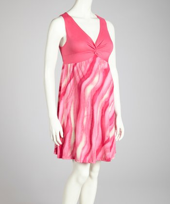 QT Pink Twist-Knot Maternity Dress