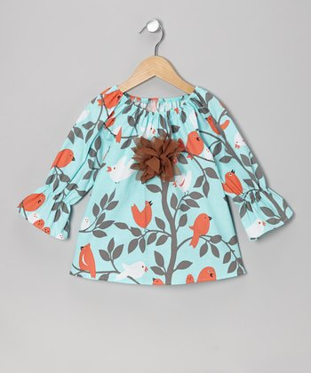 Aqua Bird Peasant Top - Toddler & Girls