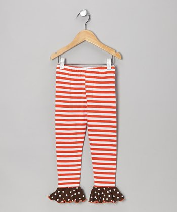 Orange Stripe Flounce Leggings - Toddler & Girls