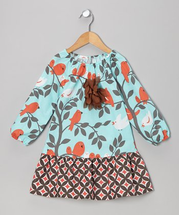 Aqua Bird Peasant Dress - Toddler