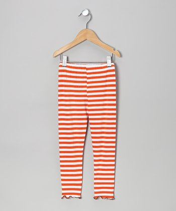 Orange Stripe Leggings - Toddler & Girls