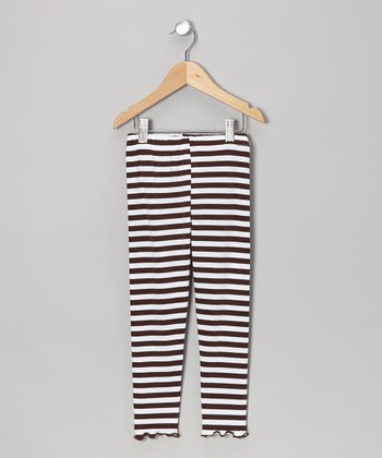 Brown & White Stripe Leggings - Toddler & Girls