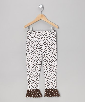Brown Dot Flounce Leggings - Toddler & Girls