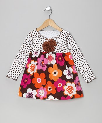 Brown Flower Lettuce Swing Top - Toddler & Girls