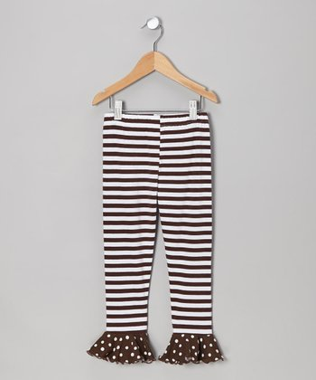 Brown Stripe Flounce Leggings - Toddler & Girls