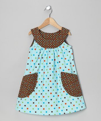 Aqua Dot Yoke Dress - Toddler & Girls