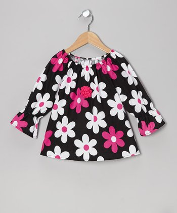 Pink & Black Daisy Peasant Top - Toddler & Girls