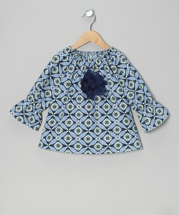 Blue & Green Geometric Peasant Top - Toddler & Girls