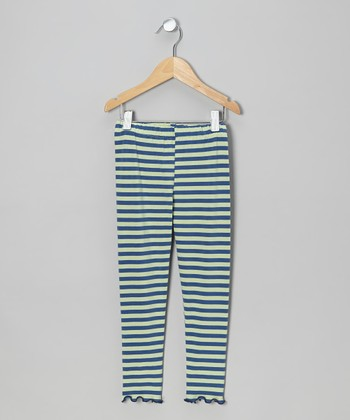 Blue & Green Stripe Leggings - Toddler & Girls