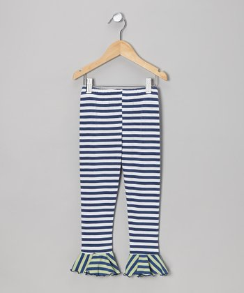 Navy & White Stripe Flounce Leggings - Toddler & Girls