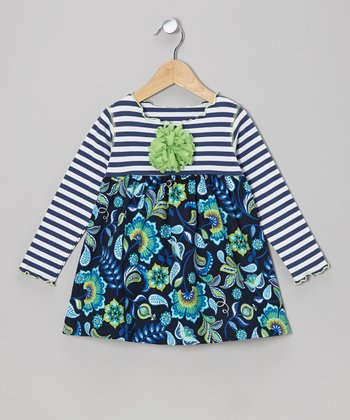 Blue Flower Lettuce Swing Top - Toddler & Girls