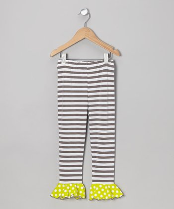 Gray & White Stripe Flounce Leggings - Toddler & Girls