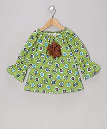 Green Flower Peasant Top - Toddler & Girls