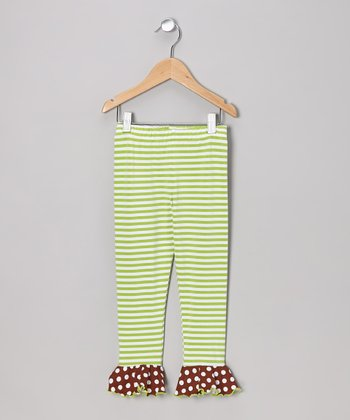 Green Stripe Flounce Leggings - Toddler & Girls