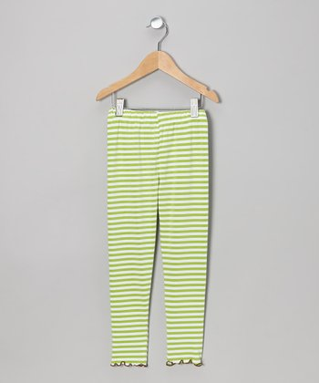Green Stripe Leggings - Toddler