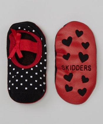 Skidders Black & Red Dot Mary Jane Gripper Socks