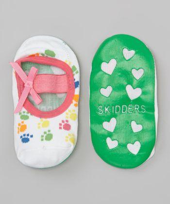Skidders Pink & White Paw Print Mary Jane Gripper Socks
