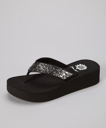 Silver & Black Gel Sandal - Women
